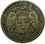 Jeton de Police Louis-Charles de Machault, Lieutenant Général de Police 1719 – avers