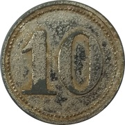 "10 Pfennig (Werth-Marke; Zinc; Countermarked ""AH"") – revers"