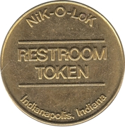 Nik-O-Lok Restroom Token from Indianapolis, IN – avers