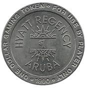 1 Dollar Gaming Token - Hyatt Regency Aruba – avers
