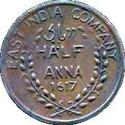 ½ Anna - East India Company – avers