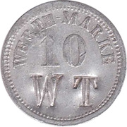 "10 Pfennig (Werth-Marke; Countermarked ""WT"") – avers"