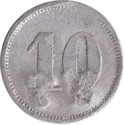 "10 Pfennig (Werth-Marke; Countermarked ""WT"") – revers"