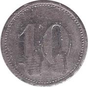 """10 Pfennig (Wert-Marke; Countermarked """"BW"""") – revers"""