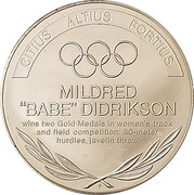 Token - Great Olympic Moments (Mildred Didrikson) – revers