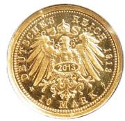 10 Mark - Wilhelm II Deutscher Kaiser König von Preußen (Restrike) – revers