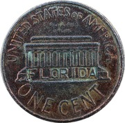 Token - Giant Florida Lincoln Memorial Cent – revers