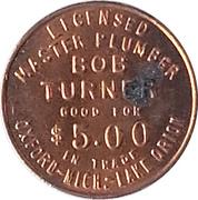 5 Dollars - Bob Turner Master Plumber (Oxford, Michigan) – avers
