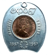 Encased Cent - Expo 67 - Montreal – avers