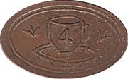 4 annas (jeton de kiosque de thé) Indore – revers