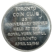 Medal - Toronto Coin Club 25th Anniversary – avers