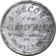 1 Pint - A. Secord Jersey farm (Hamilton, Ontario) – avers