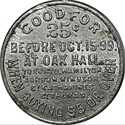 25 cents - Oak Hall – revers