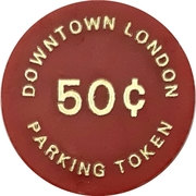 50 cents Parking token - Downtown London (Ontario) – revers