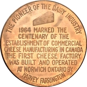 Medal - Canadian Cheese Centennial (Norwich, Ontario) – revers