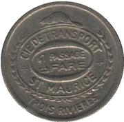 1 passage - Cie de Transport St-Maurice-fer blanc, 17 mm (Trois-Rivières, Québec) – avers