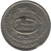 1 passage - Cie de Transport St-Maurice-fer blanc, 17 mm (Trois-Rivières, Québec) – revers