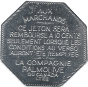 Jeton Palmolive (Flan octogonal, en français) – avers