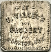 50 cents - F. Walker's Grocery (Norwich, Ontario) – avers