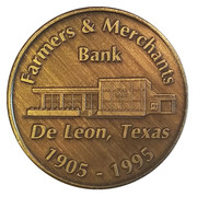 Jeton - Farmers & Merchants Bank (De Leon, Texas) – avers