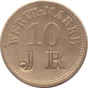 "10 Pfennig (Werth-Marke; Brass; Countermarked ""JR"") – avers"