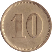 "10 Pfennig (Werth-Marke; Brass; Countermarked ""JR"") – revers"