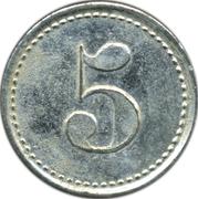 5 pfennig Wertmarke Kranichstein – revers