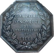Jeton octogonal Comptoir d'escompte de Lille 1854 – revers