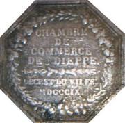 Jeton octogonal Louis XVIII Chambre de commerce de Dieppe – revers