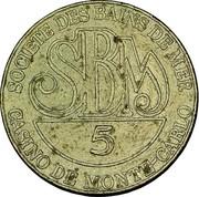5 Francs - Casino de Monte-carlo – revers