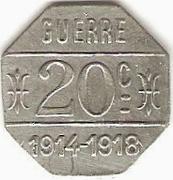 20 Centimes - Café Terminus , A. Parrain - Issoire [63] – revers