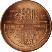 1962 World's Fair, Seattle - One Dollar Token -  revers