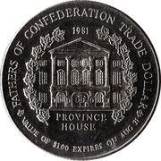 Charlottetown, Prince Edward Island - Fathers of Confederation Trade Dollar – avers