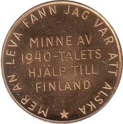 Minne av 1940-talets hjälp till Finland – revers