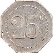 Jeton 25 centimes franc – revers