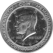 Kennedy Half Dollar Memorial Sudbury Canada Medal – avers