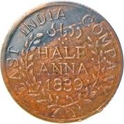 ½ Anna - East India Company (Hanuman) – avers