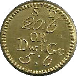 1772 Coin Weight George III S.D. 20:6 or DwtGr. 5:6 – revers