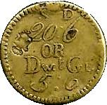 "1772 ""Counterstamped"" George III S.D. 20:6 OR DwtGr. 5:6 – revers"