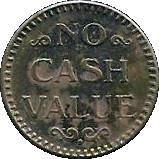 No Cash Value Glacier Water token – revers