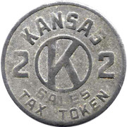 2 Mills - Sales Tax Token (Kansas) -  avers