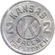 2 Mills - Sales Tax Token (Kansas) -  revers