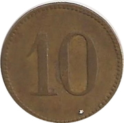 "10 Pfennig (Werth-Marke; Countermarked ""RW"") – revers"