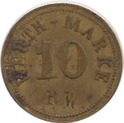 "10 Pfennig (Werth-Marke; Countermarked ""RW"") – avers"