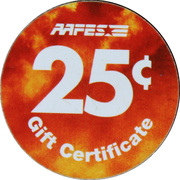 25 cents - AAFES Gift Certificate – revers