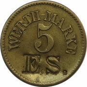 5 Pfennig Werth-Marke (contremarqu E.S.) – avers