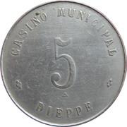 5 francs Casino municipal (Dieppe) – revers