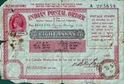 8 Annas - Postal Order - Field Post Office -  avers