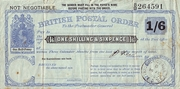 1 Shilling & 6 Pence - Postal Order - England – avers