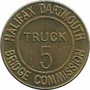 Token - Halifax Dartmouth Bridge Commission (Truck 5; Brass) – avers